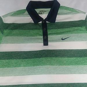 Nike Men's Dri-fit Golf Polo White Green Large